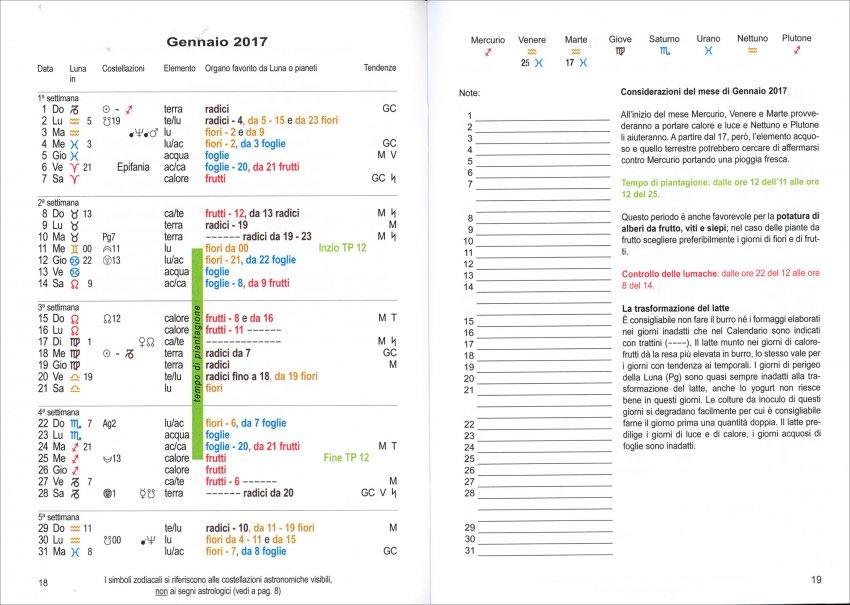Calendario delle Semine 2017