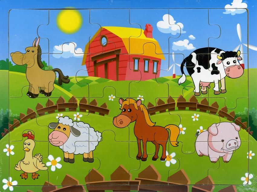 Animali della fattoria puzzle in legno for Porte francesi della fattoria