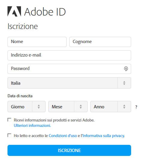 form iscrizione Adobe