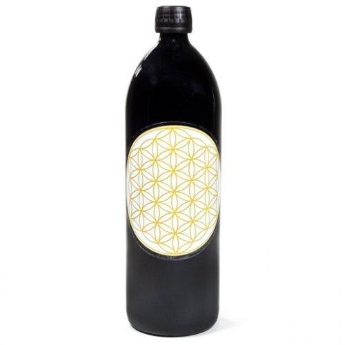 Bottiglia in Vetro Viola Miron con Fiore della Vita