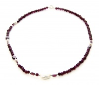 Gioiello in Granato con Perla Bianca e Argento Collana - 22 cm
