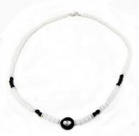 Gioiello in Onice Nera e Bianco con Argento Collana - 22 cm