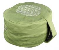 Cuscino Ovale Verde con Fiore...