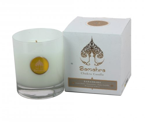 Sahasrara Bianco con Bergamotto e Rosa - Chakra Candle