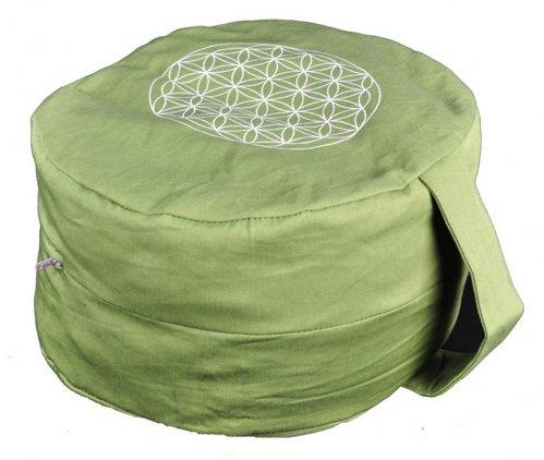 Cuscino Ovale Verde con Fiore della Vita
