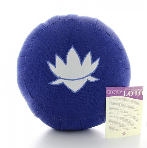 Cuscino Rotondo con Kapok e Loto Ricamato - Blu