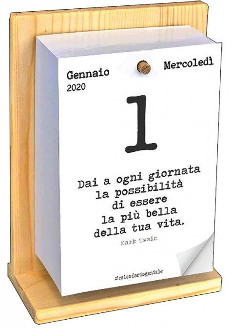 Calendario Giornaliero Con Frasi.Calendario Geniale 2020 Con Supporto In Legno