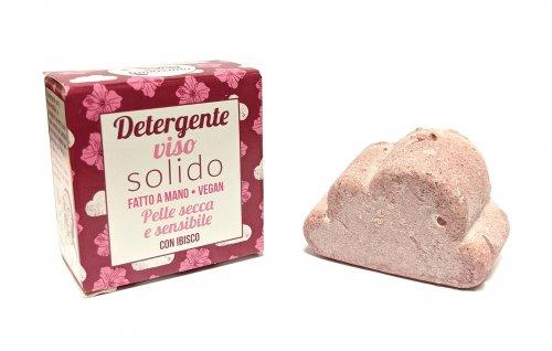 Detergente Viso Solido per Pelle Secca e Sensibile - Ibisco