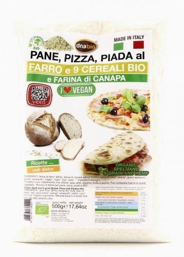 Preparato per Pane, Pizza, Piada al Farro e 9 Cereali Bio con Farina di Canapa
