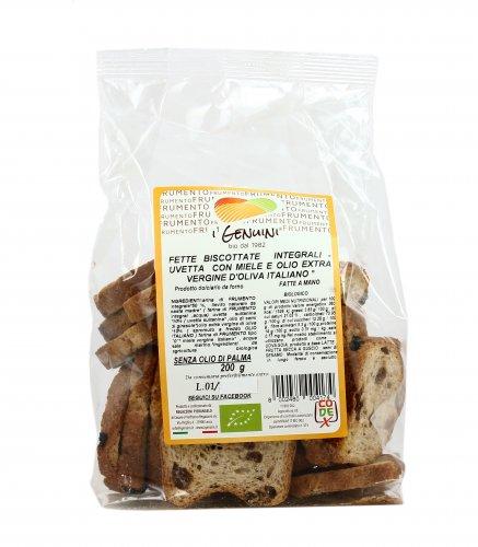 Fette Biscottate Integrali con Uvetta Bio