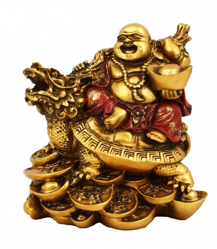 Statuetta Happy Buddha con Tartaruga