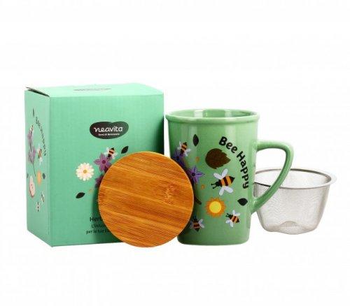 """Infusiera in Ceramica con Filtro in Acciaio Verde (""""Bee Happy"""")"""