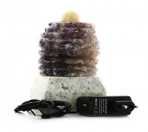 Lampada Fluorite a Scalini con Sfera e Piedistallo
