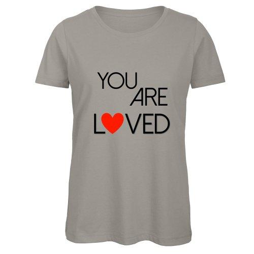 "T-Shirt Donna Grigia con Girocollo ""You Are Loved"""