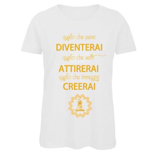 "T-Shirt Donna Bianca con Girocollo ""Quello Che Pensi..."""