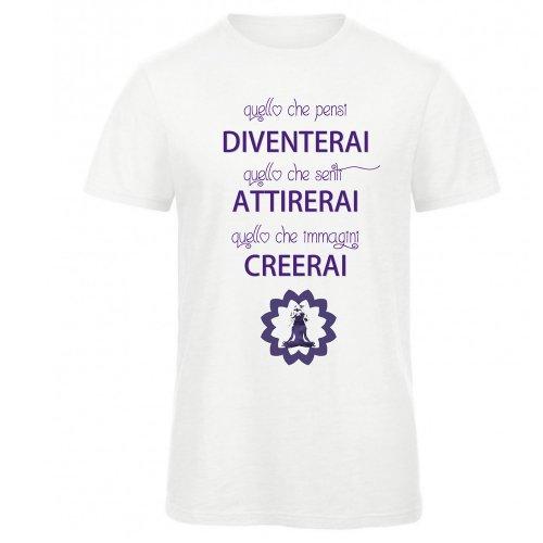 "T-Shirt Uomo Bianca e Viola con Girocollo ""Quello Che Pensi..."""