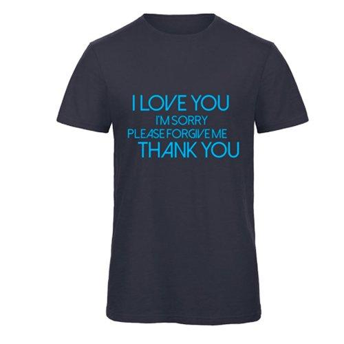 """T-Shirt Uomo Blu Navy con Girocollo """"Ho'Oponopono"""" (Inglese)"""