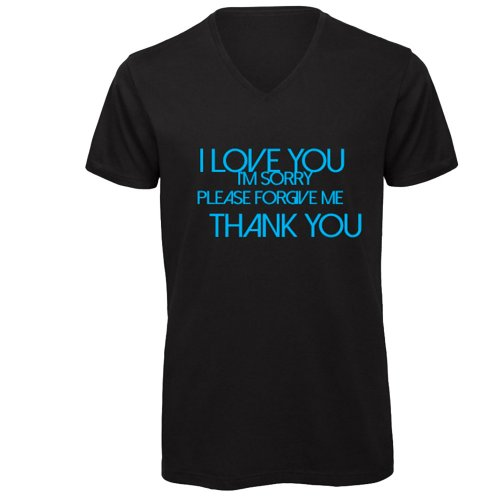 """T-Shirt Uomo Nera con Scollo a V """"Ho'oponopono"""" (Inglese)"""