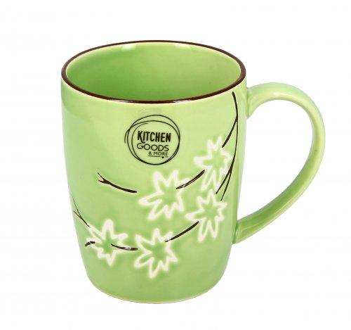 Tazza Mug in Ceramica Verde con Fiori Bianchi