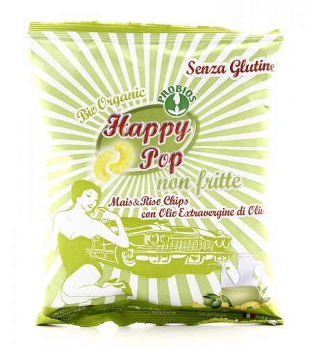 Happy Pop - Chips di Mais & Riso con Olio Extravergine di Oliva