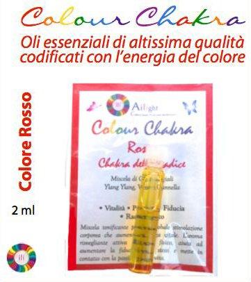 Colour Chakra Oil Rosso 2 ml - Vitalità, Passione, Fiducia, Radicamento