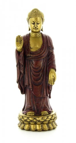 Statuetta Buddha in Piedi Oro-Rosso
