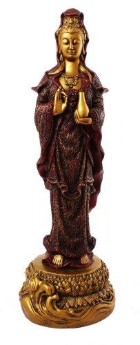 Statuetta Kuan-yin Oro e Rosso in Piedi