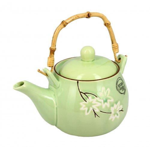 Teiera Ceramica Verde con Fiori Bianchi