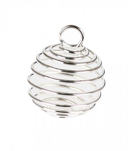 Spirale Gabbia Grande in Metallo Rodiato e Argentato 25 x 25 mm