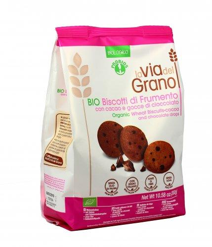 La Via del Grano - Biscotti con Cacao e Gocce di Cioccolato