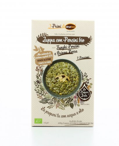Zuppa con Porcini e Quinoa Rossa Bio