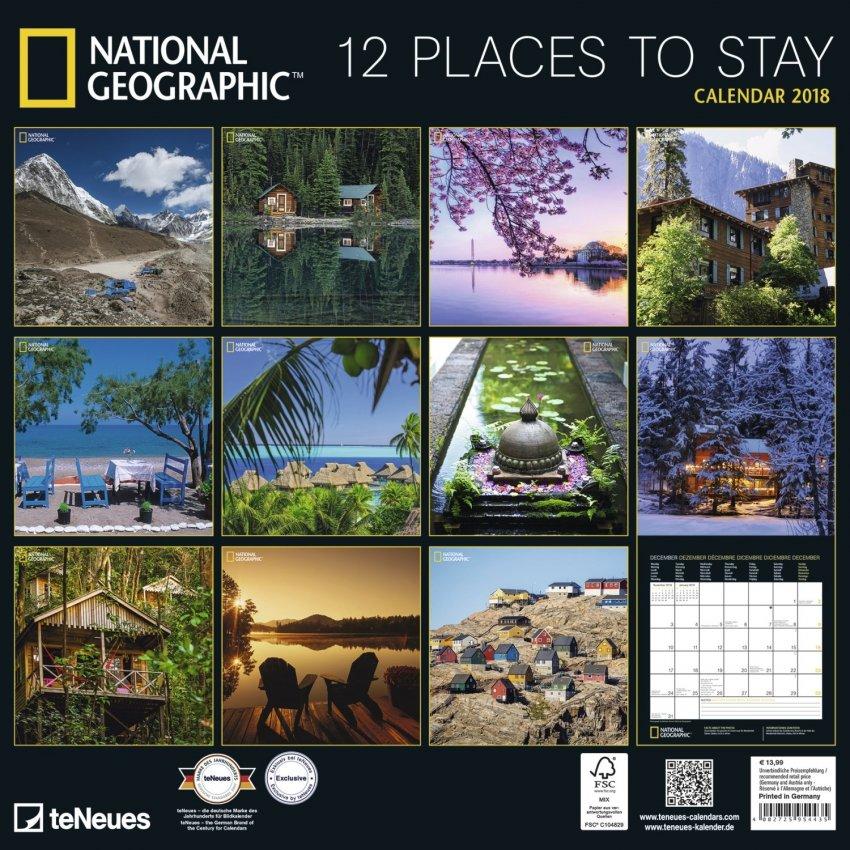 Calendario 2018 - 12 Places to Stay - Retro