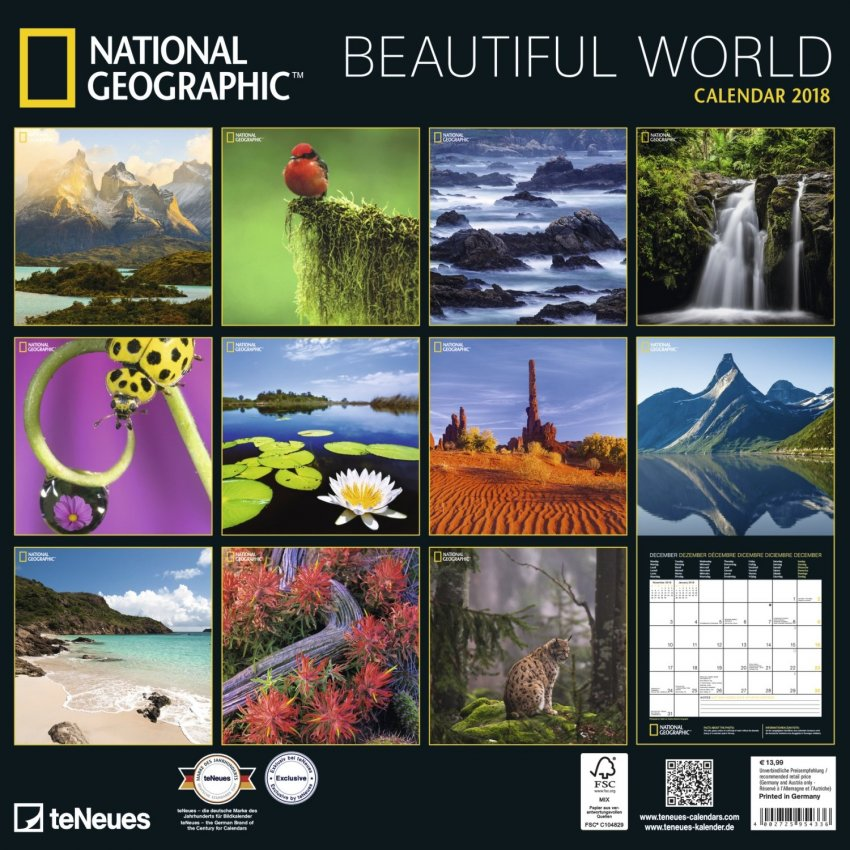 Calendario Beautiful World National Geographic 2018