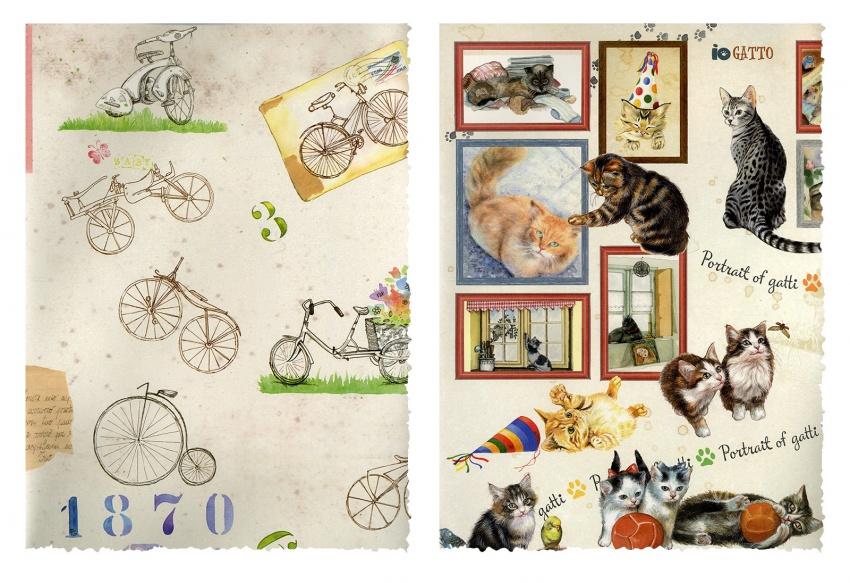 Carta per Découpage - Biciclette - Gatti