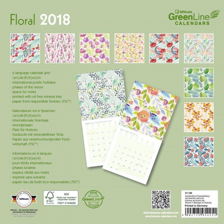 Calendario Green Diary - Floral 2018