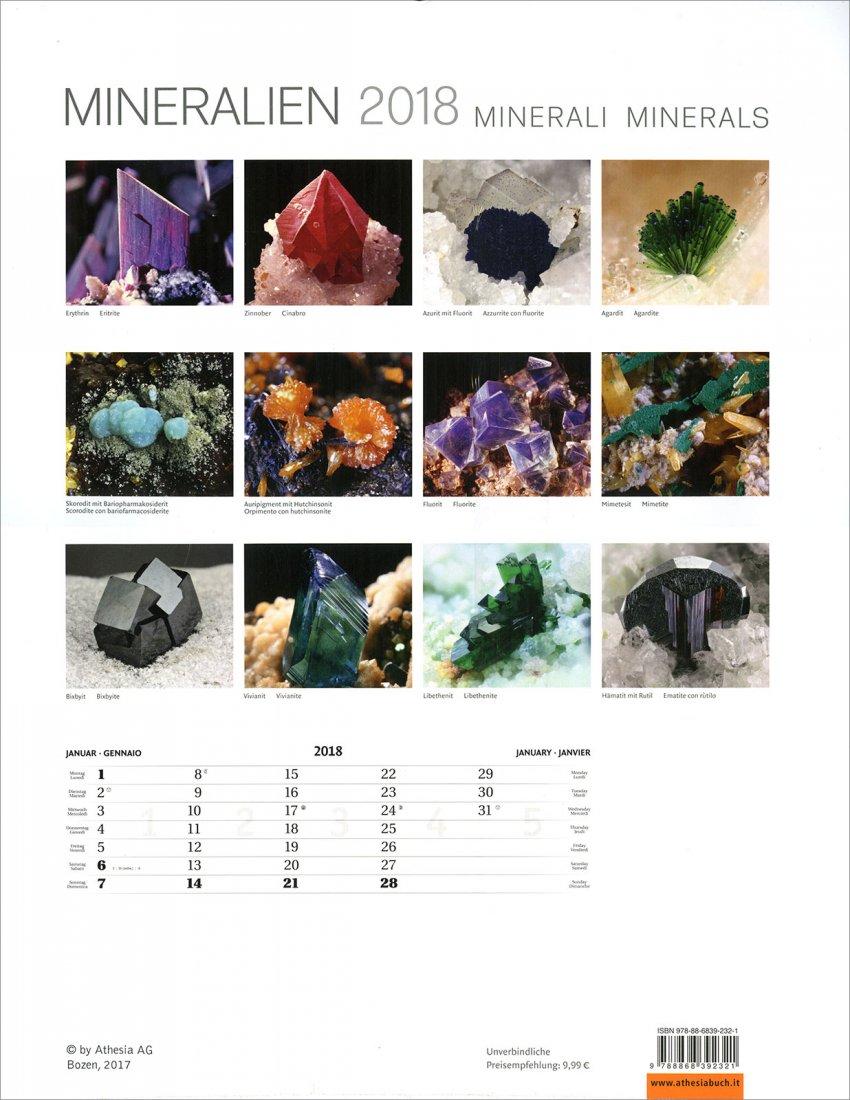 Calendario Minerali - Mineralien 2018 - Retro