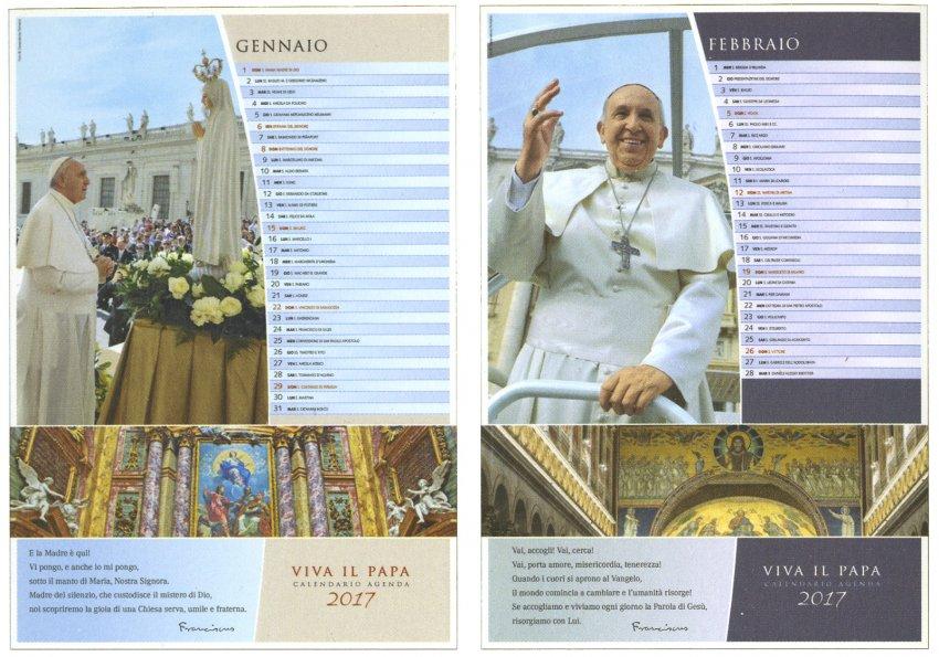 Viva il Papa - Calendario Agenda 2017