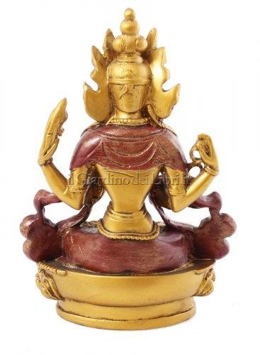 Statuetta Chenrizy (Chenrezi) Oro/Rosso