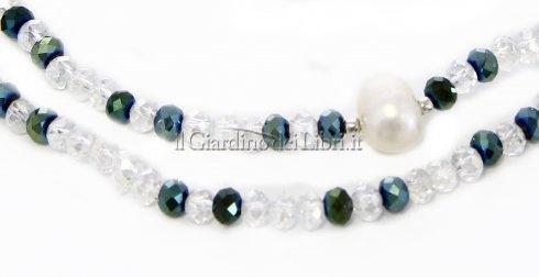 Collana-Bracciale con Cristalli Swarovski e 7 Perle Bianche Naturali in Argento