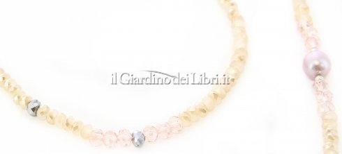 Collana-Bracciale con Cristalli Swarovski e Argento con 5 Perle Rosa Top Naturali