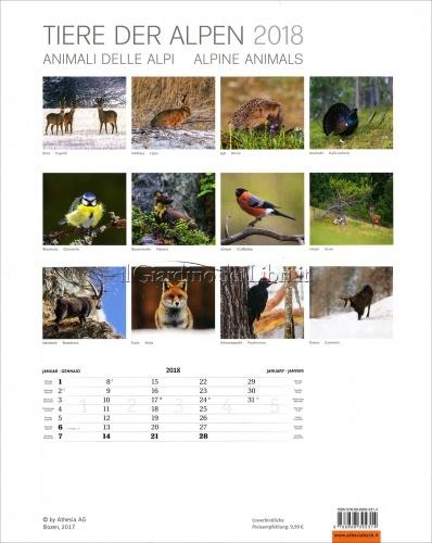 Calendario Animali delle Alpi - Tiere Der Alpen 2018 - Retro