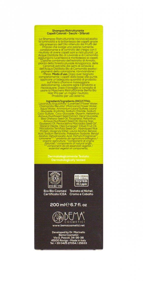 Bema Bio Hair Pro - Shampoo Ristrutturante Per capelli colorati e secchi  200 ml