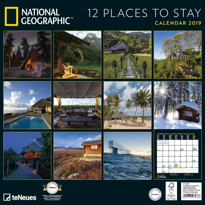 Calendario 2019 - 12 Places to Stay - Retro