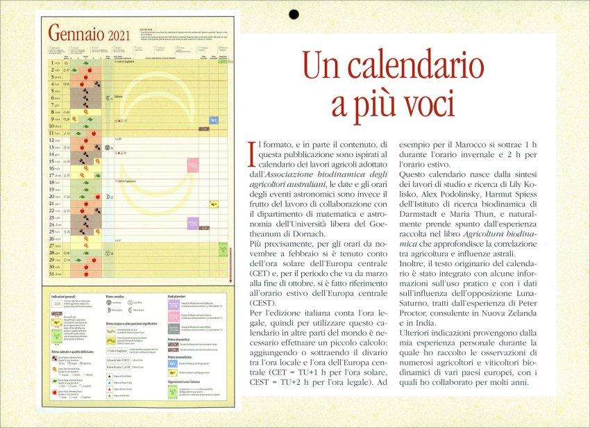 Calendario dei Lavori Agricoli 2021 - Descrizione