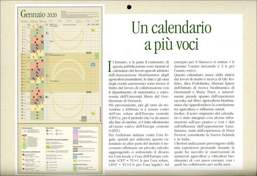 Calendario dei Lavori Agricoli 2020 - descrizione