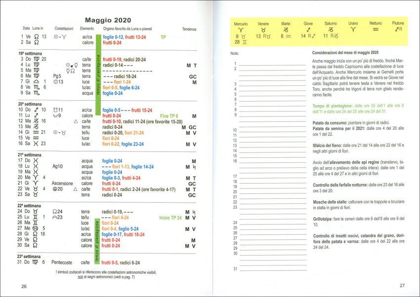 Calendario delle Semine 2020 di Maria Thun - pagine interne