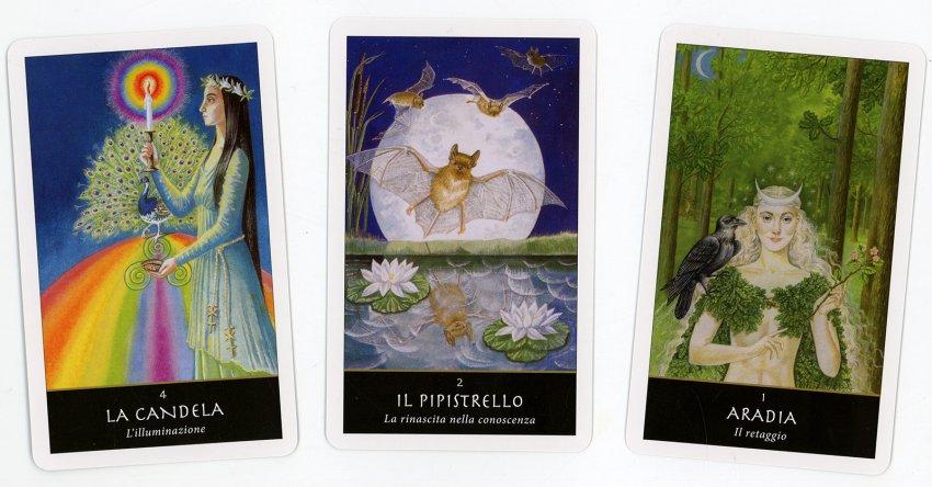 Le Carte della Strega - tre delle 42 carte contenute nel cofanetto