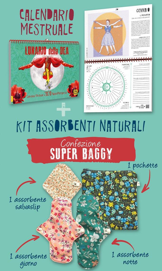 Calendario Mestruale + Kit Assorbenti Super Baggy - contenuto del cofanetto