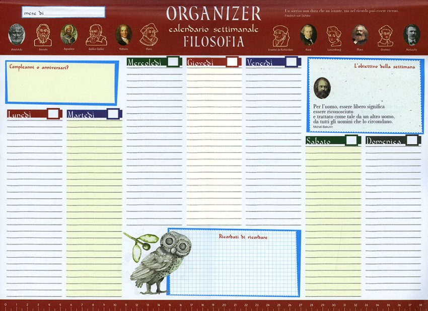 Filosofia Organizer Calendario Settimanale - Aforismi - Grande