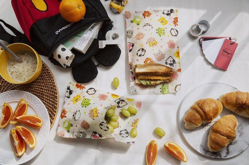 Set 2 Sacchetti per Snack e Sandwich - Cera d'Api Fantasia